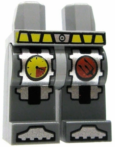 LEGO LOOSE Legs Dark Gray Legs with Yellow Belt, Steel Toes, Pressure Gauge & Red Circle with Trident Logo