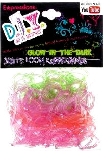 D.I.Y. Do it Yourself Bracelet 300 Translucent Glow-In-The -Dark Rainbow Rubber Bands with 12 Clasps