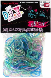 D.I.Y. Do it Yourself Bracelet 300 Glitter Rainbow Rubber Bands with Clips