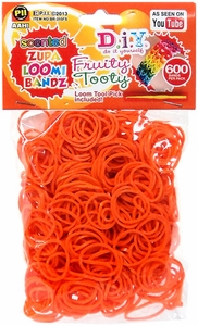 D.I.Y. Do it Yourself Bracelet Zupa Loomi Bandz 600 Fruity Tooty Orange Scented Rubber Bands with 'S' Clips