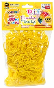 D.I.Y. Do it Yourself Bracelet Zupa Loomi Bandz 600 Fruity Tooty Yellow Scented Rubber Bands with 'S' Clips