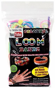 Colorful Loom Bandz 600 Rainbow Glow-in-the-Dark Rubber Bands with 'S' Clips