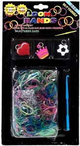 Loom Bands 300 Rainbow Glitter Rubber Bands with 'S' Clips, Hook Tool & Charms