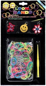 Loom Bands 300 Neon Glow-in-the-Dark Rubber Bands with 'S' Clips, Hook Tool & Charms
