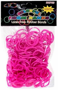 Colorful Loom Bands 300 Hot Pink Scented Rubber Bands with 'S' Clips & Hook Tool