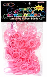 Colorful Loom Bands 300 Pink Scented Rubber Bands with 'S' Clips & Hook Tool