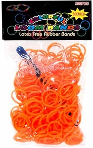Colorful Loom Bands 300 Orange Scented Rubber Bands with 'S' Clips & Hook Tool