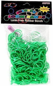 Colorful Loom Bands 300 Green Scented Rubber Bands with 'S' Clips & Hook Tool