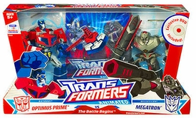 Transformers Animated Deluxe Figures Battle Begins Optimus Prime vs. Megatron Damaged Package, Mint Contents!