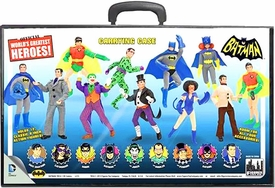 Batman Retro 8 Inch Action Figure Carrying Case Figures Displayed on Case New!
