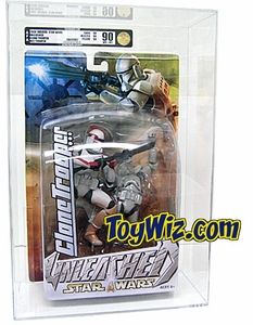 Hasbro Star Wars Unleashed Action Figure Red Striped Clone Commander AFA Graded 90