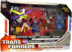 Transformers Universe Exclusive Robots In Disguise Mini Figure 5-Pack Battle for the Cyber Planet Keys [Optimus Prime, Longrack, Blurr, Runamuck & Buzzsaw]