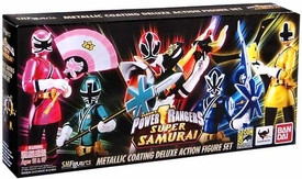 Power Rangers Super Samurai S.H. Figuarts 2013 SDCC San Diego Comic-Con Exclusive Action Figure Set Super Form Red, Blue, Green, Yellow & Pink Ranger [Metallic Coating]