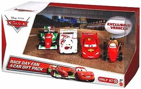 Disney / Pixar CARS Movie Exclusive 1:55 Die Cast Cars Race Day Fan 4-Pack #3 [Lightning McQueen, Shu Todoroki, Francesco & Mama Bernoulli]