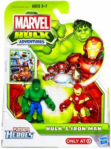 Marvel Playskool Hulk Adventures Mini Figure 2-Pack Hulk & Iron Man