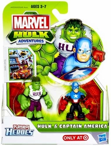 Marvel Playskool Hulk Adventures Mini Figure 2-Pack Hulk & Captain America