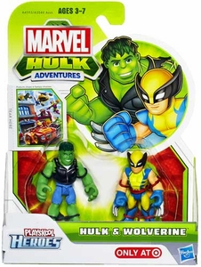Marvel Playskool Hulk Adventures Mini Figure 2-Pack Hulk & Wolverine