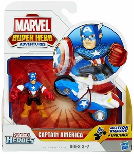 Marvel Playskool Super Hero Adventures Mini Figure & Vehicle Captain America with Shield Racer