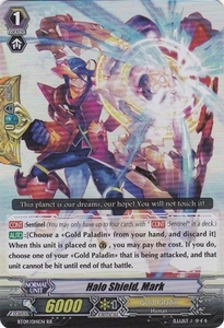 Cardfight Vanguard ENGLISH Clash of the Knights & Dragons Single Card RR Rare BT09/014 Halo Shield, Mark