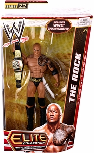 Mattel WWE Wrestling Elite Series 22 Action Figure The Rock [WWE Championship Belt!] First Appearance of the New Belt!