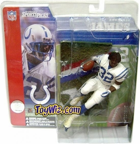 McFarlane Toys NFL Sports Picks Series 1 Action Figure Edgerrin James (Indianapolis Colts) White Jersey No Helmet Dirty Uniform Variant