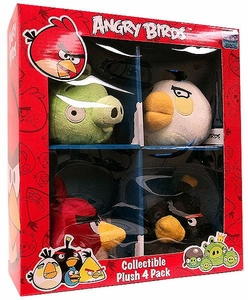 Angry Birds 4 Inch MINI Plush 4-Pack Box Set #1 [Red, White & Black Birds & Neutral Pig]