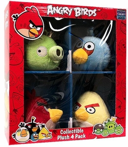Angry Birds 4 Inch MINI Plush 4-Pack Box Set #2 [Red, Yellow & Blue Birds & King Pig]