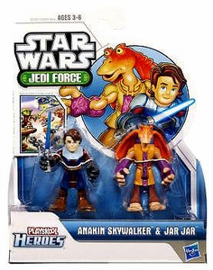Star Wars 2011 Playskool Jedi Force Mini Figure 2-Pack Anakin Skywalker & Jar Jar Binks