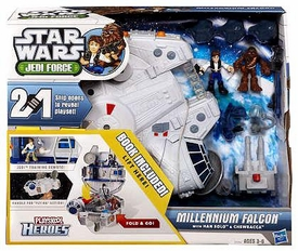 Star Wars 2011 Playskool Jedi Force Playset Millennium Falcon with Han Solo & Chewbacca