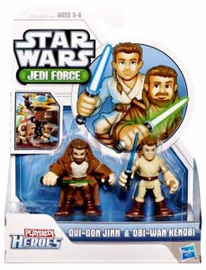 Star Wars 2011 Playskool Jedi Force Mini Figure 2-Pack Qui-Gon Jinn & Obi-Wan Kenobi