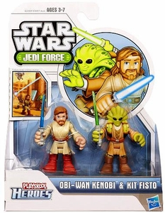 Star Wars 2013 Playskool Jedi Force Mini Figure 2-Pack Obi-Wan Kenobi & Kit Fisto