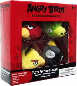 Angry Birds Flingers 2 Inch Soft Pencil Topper 4-Pack [Red, Yellow, Black & Pig]