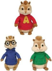 Ty Alvin & The Chipmunks Set of 3 Beanie Babies [Alvin, Theodore & Simon]