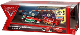 Disney / Pixar CARS 2 Movie Exclusive Lights & Sounds 4-Pack Lightning McQueen, Francesco Bernoulli, Finn McMissile & Holley Shiftwell
