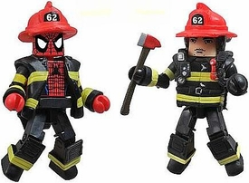 Diamond Select Toys Marvel Minimates NYCC 2011 New York Comic Con Exclusive 2-Pack Spider-Man & Fire Chief Max BLOWOUT SALE!