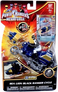 Power Rangers Megaforce Vehicle & Figure Sea Lion Black Ranger Cycle