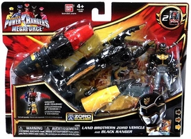 Power Rangers Megaforce Vehicle & Figure Land Brothers Zord with Black Ranger