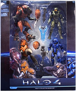 Halo 4 McFarlane Toys Series 1 Exclusive Action Figure 4-Pack Collector Box Set #1 [Master Chief, Elite Zealot, Storm Grunt & BLUE Spartan Warrior]