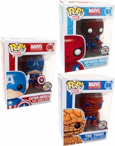 Funko POP! Marvel SDCC 2011 San Diego Comic-Con Exclusive Set of 3 Bobble Head Figures  [Spider Man, Captain America & Thing] Only 480 Made!