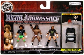 WWE Wrestling Micro Aggression Series 6 Figure 3-Pack Carlito, King Booker & Triple H