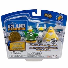Disney Club Penguin Series 10 Mix 'N Match Mini Figure Pack Yellow Team & Green Team Cheerleader [Includes Coin with Code!]