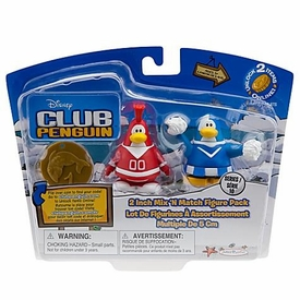 Disney Club Penguin Series 10 Mix 'N Match Mini Figure Pack Red Team & Blue Team Cheerleader [Includes Coin with Code!]