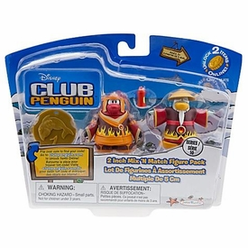 Disney Club Penguin Series 10 Mix 'N Match Mini Figure Pack Fire Ninja & Fire Sensei with Hot Sauce [Includes Coin with Code!]