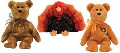 Ty Thanksgiving 2007 Beanie Baby Set of 3 Beanies (Leftovers, Harvester & Gratefully)