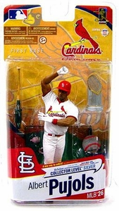 McFarlane Toys MLB Sports Picks Series 26 Action Figure Albert Pujols (St. Louis Cardinals) White Jersey with World Series Trophy Silver Collector Level Chase Only 1,000 Made!