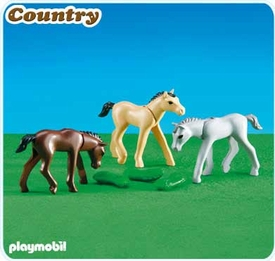 Playmobil Farm Set #6263 3 Foals with Feed