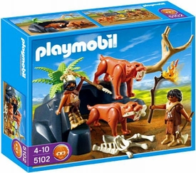 Playmobil Stone Age Set #5102 Saber-Toothed Cat with Cavemen