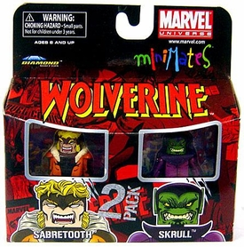Marvel MiniMates Series 28 Mini Figure 2-Pack Sabretooth & Skrull