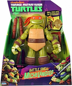 Nickelodeon Teenage Mutant Ninja Turtles 11 Inch Action Figure Battle Shell Michelangelo