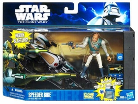 Star Wars 2011 Clone Wars Vehicle & Action Figure Speeder Bike with Castas